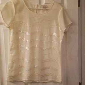 Fun top with lines of sequins